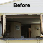 Window removed to inspect damage of static caravan